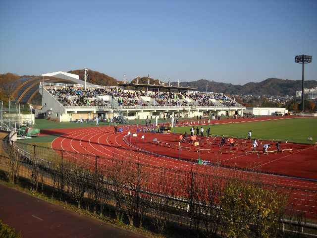 練習中の競技場